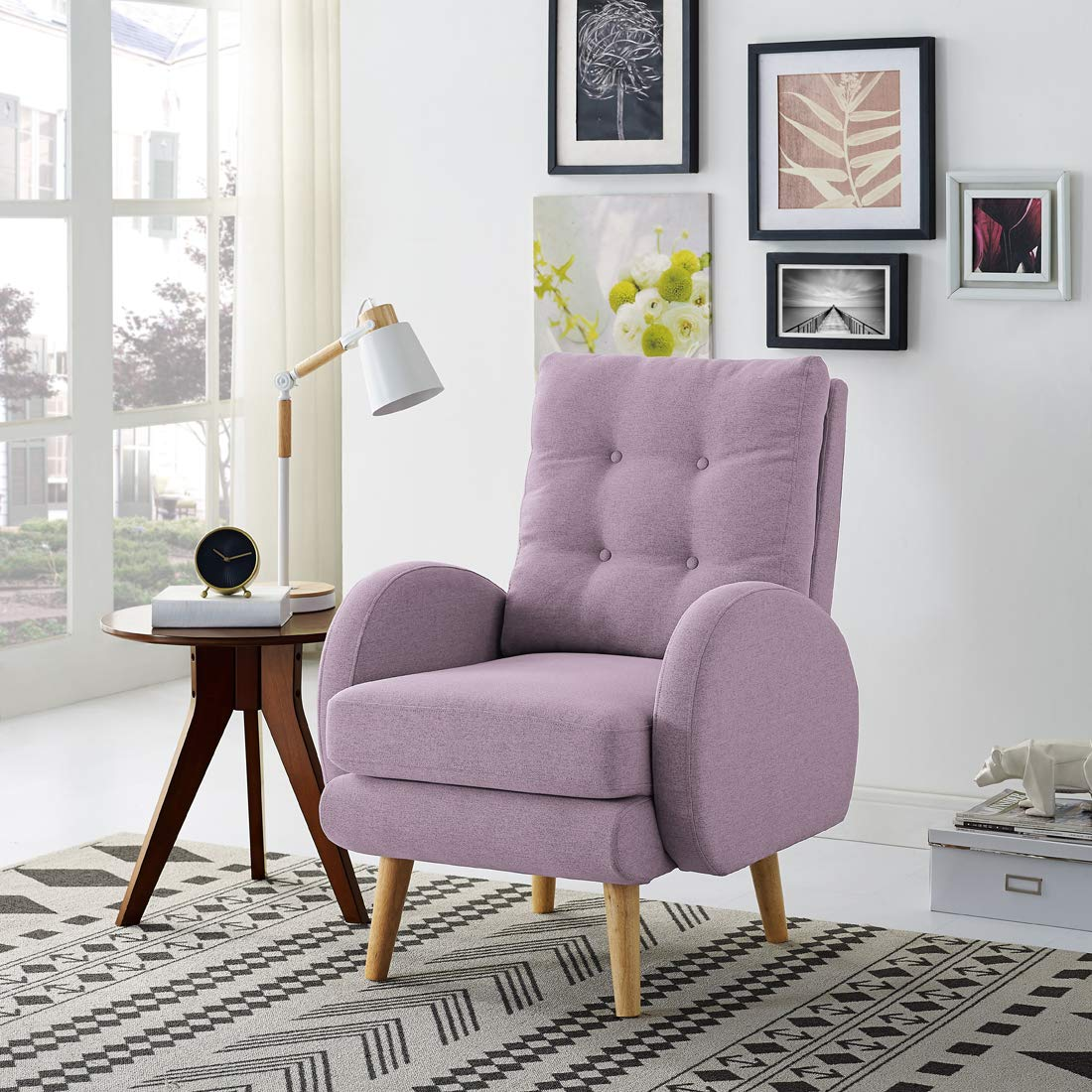 Lohoms Mid-Century Modern Accent Chair Tufted Button Fabric Uphlostered Curved Arm Chair Comfy High Back Chair Single Sofa (Purple) by Lohoms