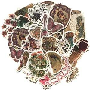 Vintage Fairy Tale Paradise Flower Washi Sticker Pack | Artsy Retro Decals Elegant Decoration Collection with Assorted Butterfly Floral Lady Dowager Portraits (Fairy Fantasy Garden 120 Pcs)