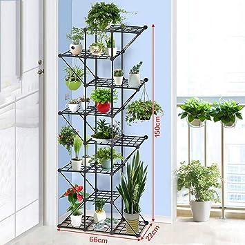 JZX Puesto de Flores, Soporte de Flores de Hierro Forjado, Estante para macetas con balcón,7 Niveles: Amazon.es: Deportes y aire libre