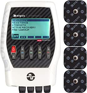 Compex Performance 2.0 Muscle Stimulator with TENS Bundle Kit: Muscle Stim, 12 Snap Electrodes, 6 Programs, Lead Wires, Battery, Case / 3 strength, 1 warm-up, 1 recovery, 1 TENS