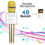 Noza Tec Pro Q7 Wireless Karaoke Mikrofon KTV Bluetooth Player Mikrofon Lautsprecher für Handy gold