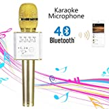 Bluetooth Karaoke Microphone, Portable Wireless Karaoke Singing Microphone Machine with Speaker Player for Phone iPhone iPad Android PC Kids (Q7, Gold)