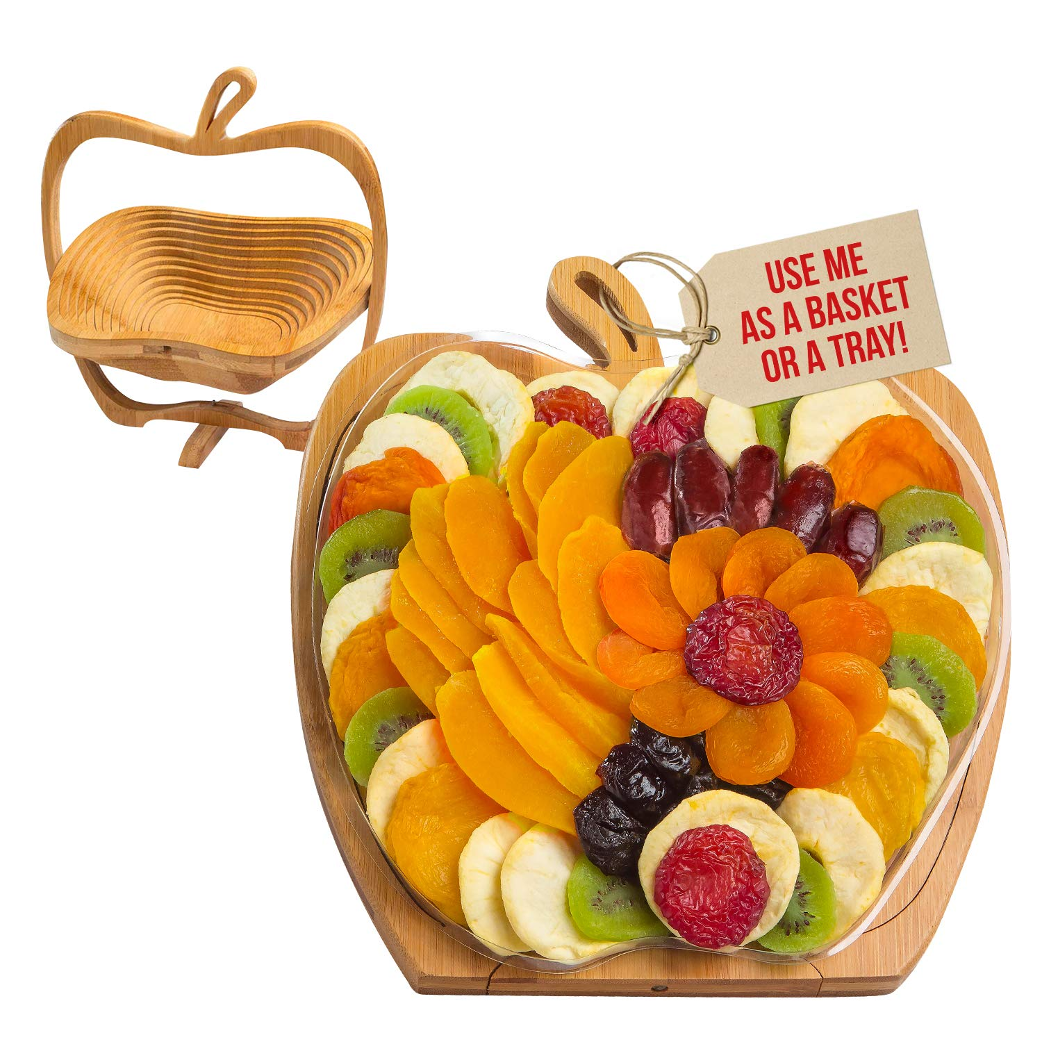 Dried Fruit Gift Basket - Tray Turns into Basket - Healthy Gourmet Snack Box - Holiday Food Tray - Great for Birthday, Sympathy, Father's Day, Christmas, or as a Corporate Tray - Bonnie & Pop by BONNIE AND POP