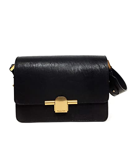 d71ef550f1 Massimo Dutti Women's Black leather crossbody bag with metal clasp  6916/660: Amazon.co.uk: Clothing