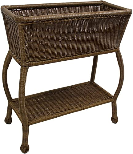 International Caravan Furniture Piece Resin Wicker Rectangular Plant Stand