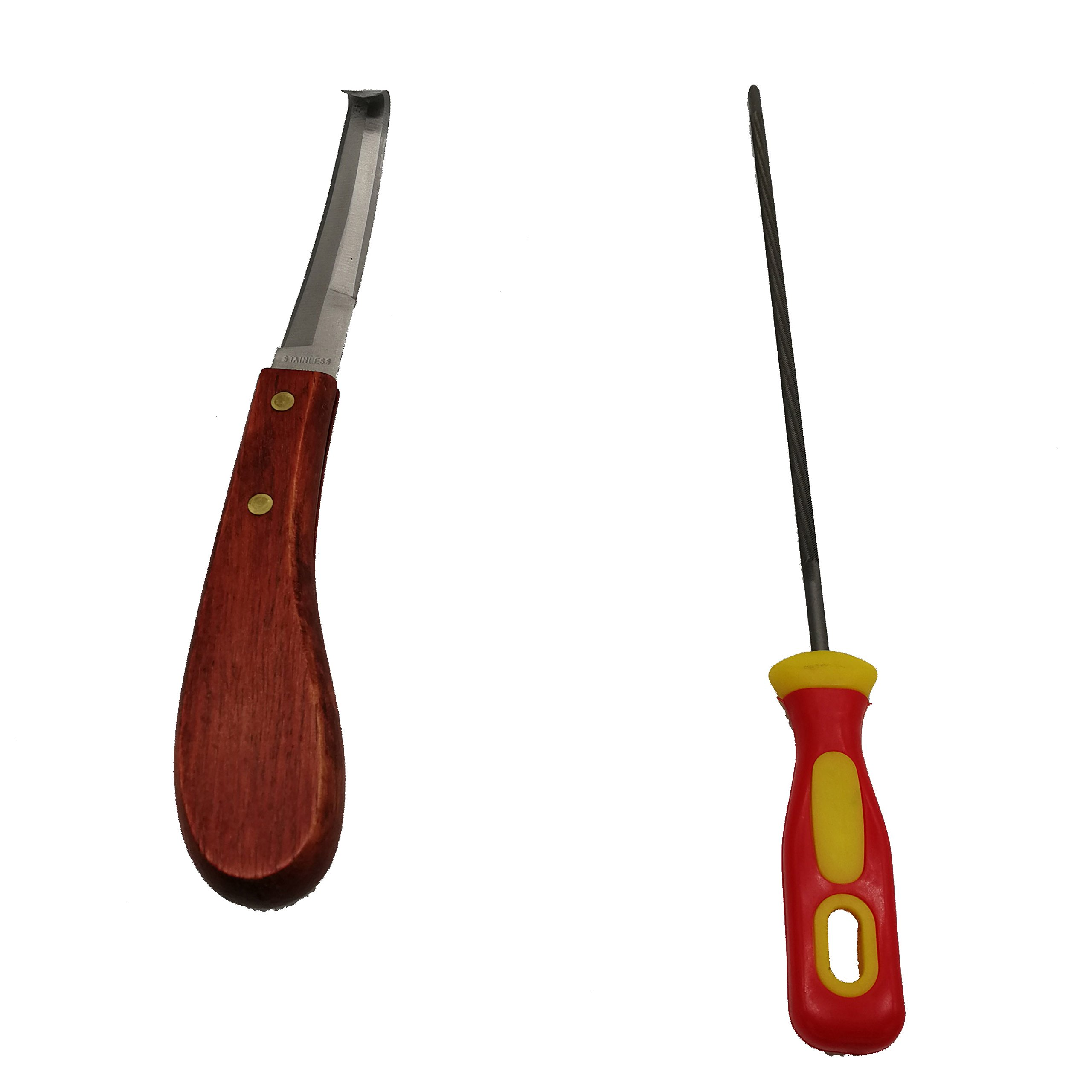 Wooden Handle Stainless Steel Blade Double Edge Cattle and Horse Hoof Knife Shears Cutter with Knife Sharper
