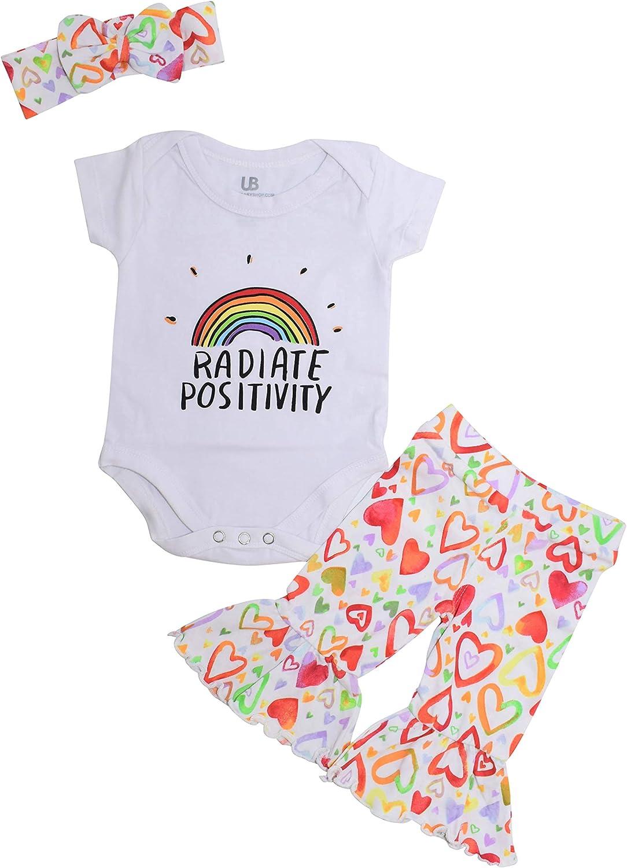 Unique Baby Girls Valentines Day Radiate Positivity 3pc Layette Set