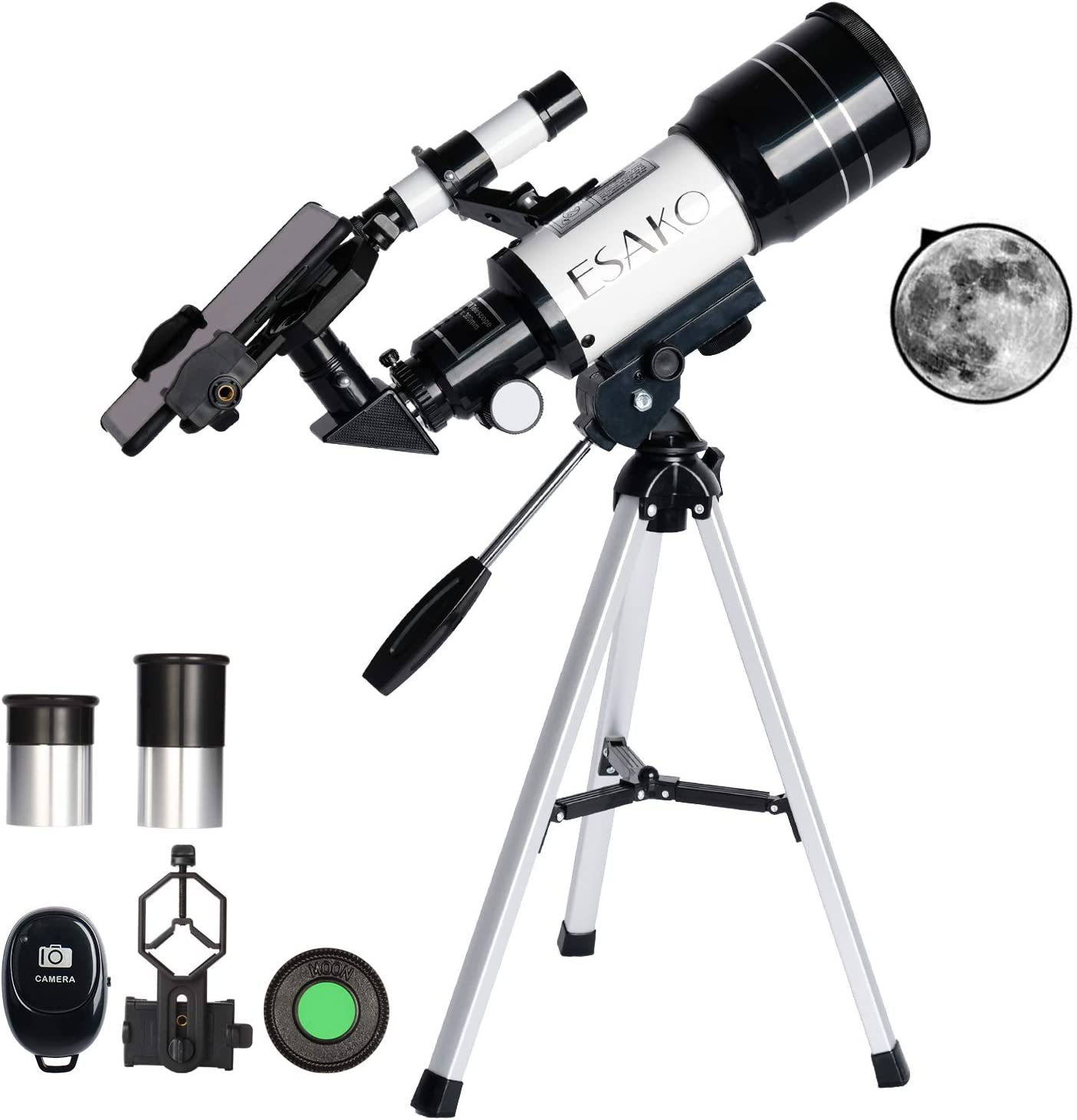 Black Owill 70mm Refractor Telescope for Astronomy Telescope Astronomy for Adults Kids Beginners Astronomical Refractor Travel Telescope with Tripod Beginners Adults Moon Star Observation,Wide