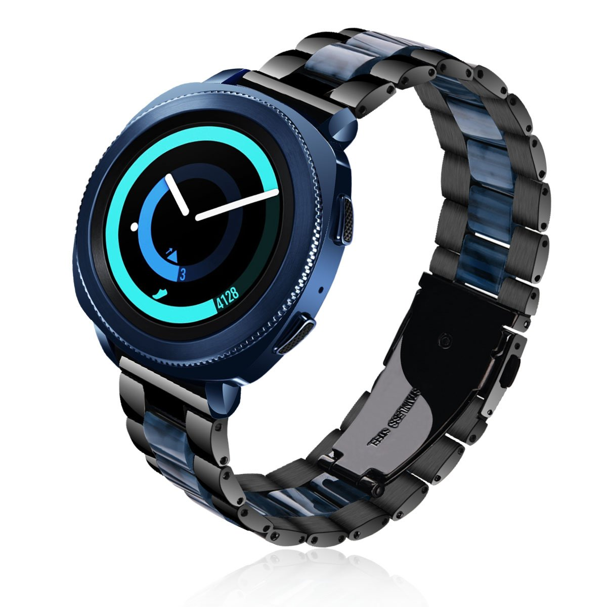 Gear Sport Bands - V-MORO 20MM Black Stainless Steel Men Women Replacement Strap with Blue Resin Bracelet for Samsung Gear Sport Smartwatch SM-R600 and Gear S2 Classic SM-R732/SM-R735 (Black + Blue)