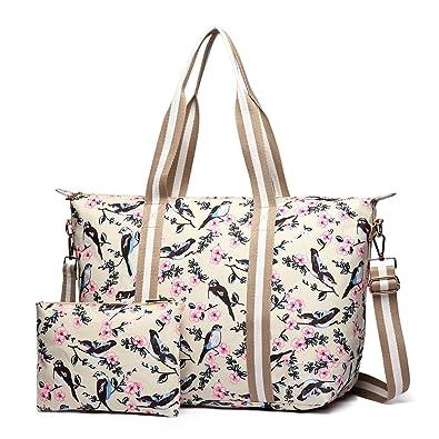 6109fae5e6962 Miss Lulu 2 Pieces Set Women Bird Flower Matte Oilcloth Foldaway Overnight  Bag Large Light Weight