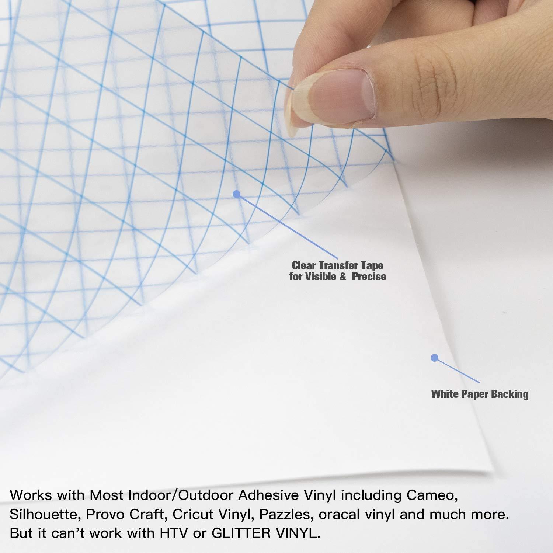 30,5 cm x 500 cm, con rejilla de orientaci/ón clara, cinta de transferencia para Silhouette Cricut, vinilo de Cameo para calcoman/ías, se/ñales, paredes ImnBest L/ámina de transferencia para vinilo