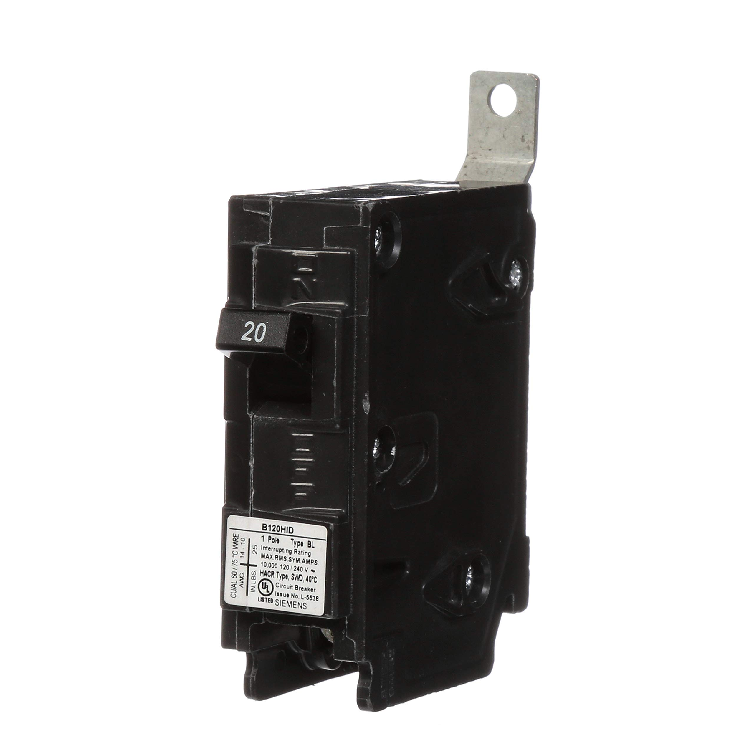 Siemens B120HID 20-Amp Single Pole 120-Volt 10KAIC Bolt in Breaker