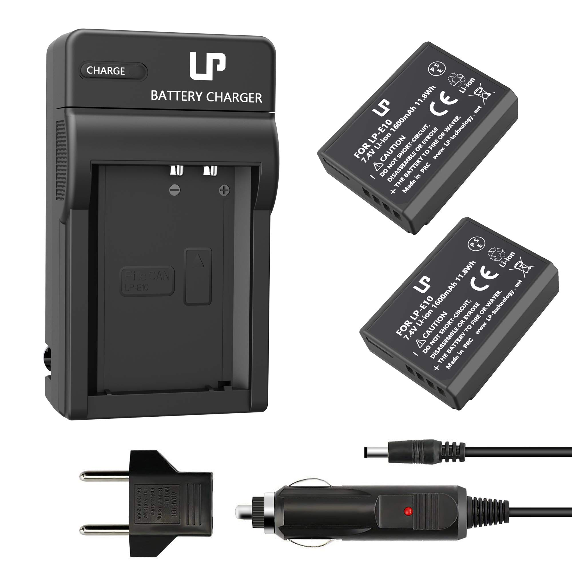 LP LP-E10 Battery Charger Set, 2-Pack Battery & Charger, Compatible with Canon T3, T5, T6, T7, T100, 4000D & More (Not for T3i T5i T6i T6s T7i) by LP