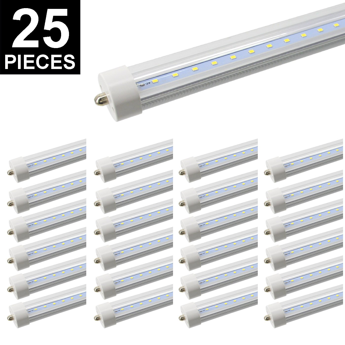 8ft LED Tube, CNSUNWAY LIGHTING 96'' 45Watt T8 FA8 Single Pin LED Bulbs With Clean Cover, 4800LM Super Bright 6000K-6500K Cool White(25 Pieces)