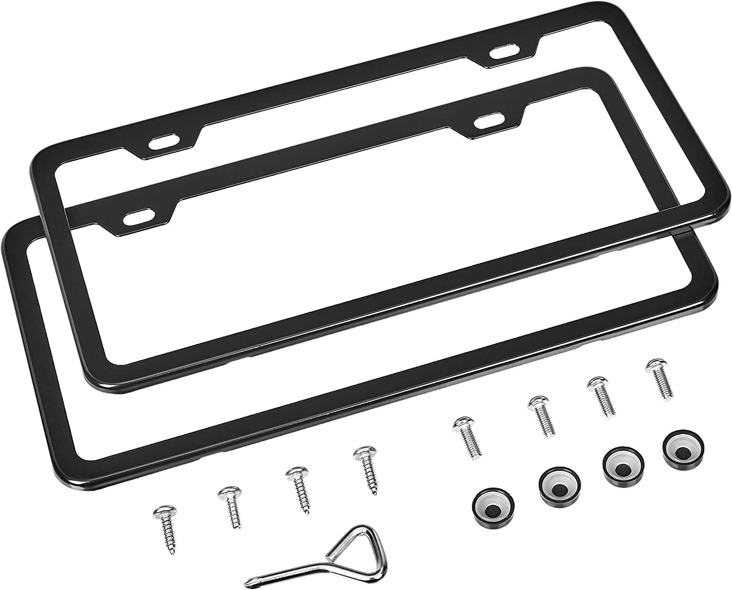 AmazonBasics Matte Aluminum License Plate Frame Pair with Screw Caps - 2-Hole, 12.2'' x 6.3'', Black