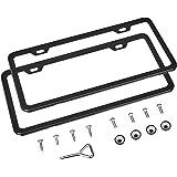 AmazonBasics Matte Aluminum License Plate Frame Pair with Screw Caps - 2-Hole, 12.2'' x 6.3'', Black