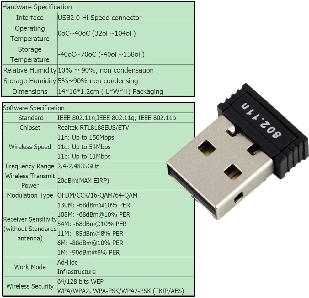 2.4 GHz USB WiFi Dongle Wireless Network Card Adapter for Windows 7//8//10//Vista//XP//2000 2Pcs 150Mbps USB WiFi Adapter