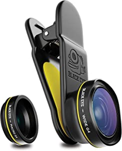 Phone Lenses by Black Eye || Combo G4 (Wide + Macro) Clip-on Lens Compatible with iPhone, iPad, Samsung Galaxy, and All Camera Phone Models - G4CB001
