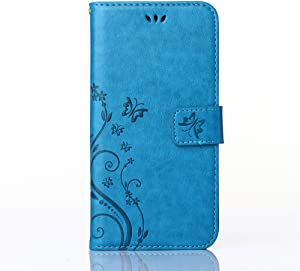 Sinlifu Galaxy S4 Case, Butterfly Pattern Premium PU Leather Wallet Flip Protective Skin Case with Magnetic Closure for Samsung Galaxy S4 i9500 (Galaxy S4, Blue)