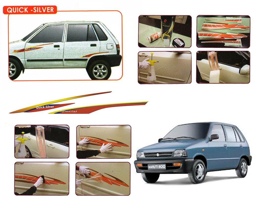 Auto pearl galio o e type fitment car graphics for maruti 800 quick silver red yellow gl077 r amazon in car motorbike