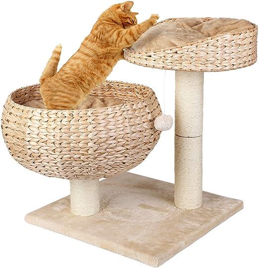 pedy Cama para Gatos Multifuncional de Doble Capa, Árbol para Gatos, Cama para Mascotas con 2