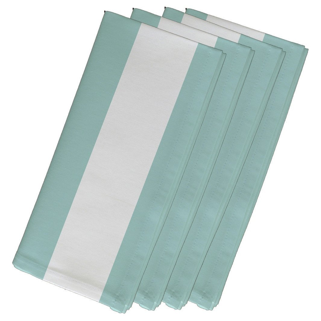 4 Piece Blue Napkin (19''), Contemporary Style, Cotton Material, Stripe Pattern, Decorative Table Top Napkin Type, Vertical Large Stripes, Suitable For Everyday, Special Occasions, Light Aqua by Patriot