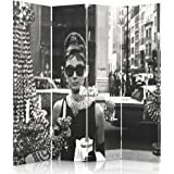 Feeby Frames Canvas Screen, Decorative Room Divider, Paravent, Single sided, 4 panels (145x180 cm) AUDREY HEPBURN, BREAKFAST AT TIFFANY'S, GLAMOUR, BLACK AND WHITE, JEWELLERY