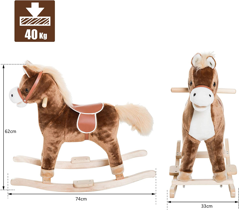 HOMCOM Cavallo a Dondolo in Legno Giocattolo Cavalcabile Bambini 74×33×62cm