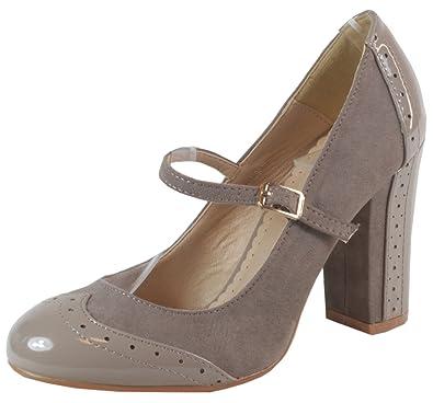 Ebro Blockabsatz Schuhe High Heels Pumps Velourleder Optik mit Riemchen 36 37 38 39 40 41