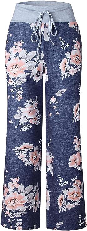 AMiERY Damen Bequeme beil/äufige Pyjamahose mit Blumenmuster Tunnelzug Palazzo Freizeithose mit weitem Bein