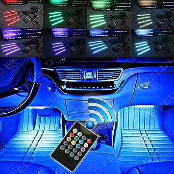 SJDZ Car Interior Decoration LED Interior Underdash Lighting Kit Automotive Led Neon Accent Light Kits(Green)