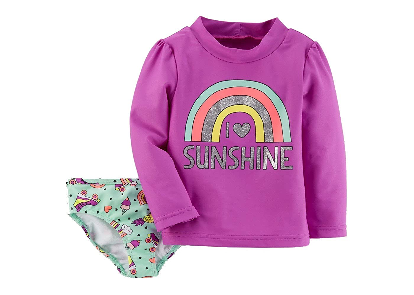 Just One You by Carters Toddler Girls Sunshine Rainbow Rash Guard Swim Set Pink