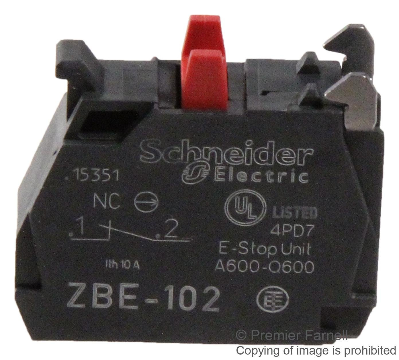 SCREW//CLAMP 1NC 6A SCHNEIDER ELECTRIC ZBE102 CONTACT BLOCK