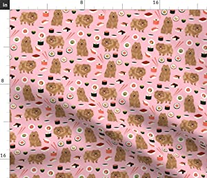 Spoonflower Fabric - Pomeranian Dog Cute Sushi Food Funny Dogs Pink Pet Portrait Printed on Petal Signature Cotton Fabric by The Yard - Sewing Quilting Apparel Crafts Decor