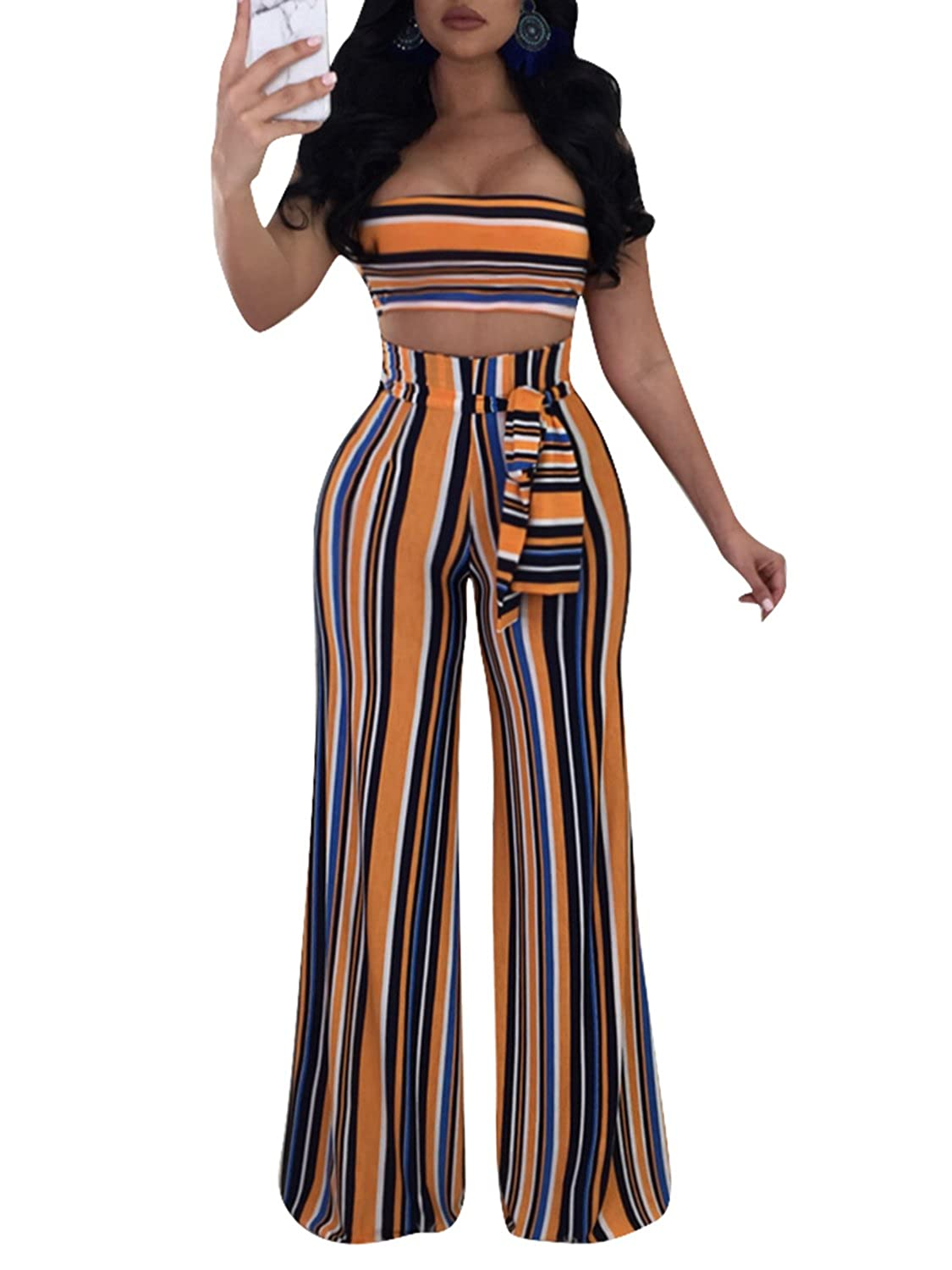 12bf7c1f34f7 Two pieces backless sleeveless boho style jumpsuit outfit strapless crop top  and high waist wide leg long pants set with self tie sash. Horizontal stripe  ...