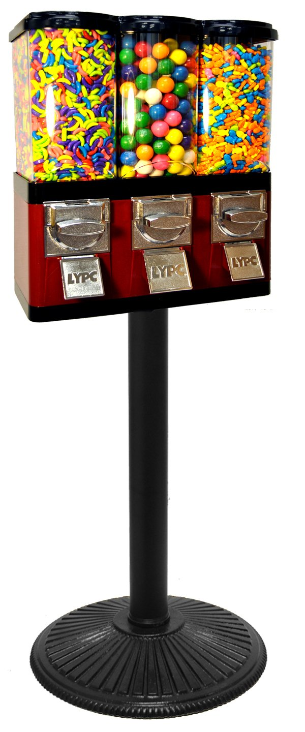 Triple Pod Candy Gumball Vending Machine (Red)