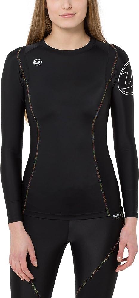 Ultrasport Rainbow - Camiseta Deportiva de Compresion, Manga Larga, para Mujer, Color Negro: Amazon.es: Ropa y accesorios