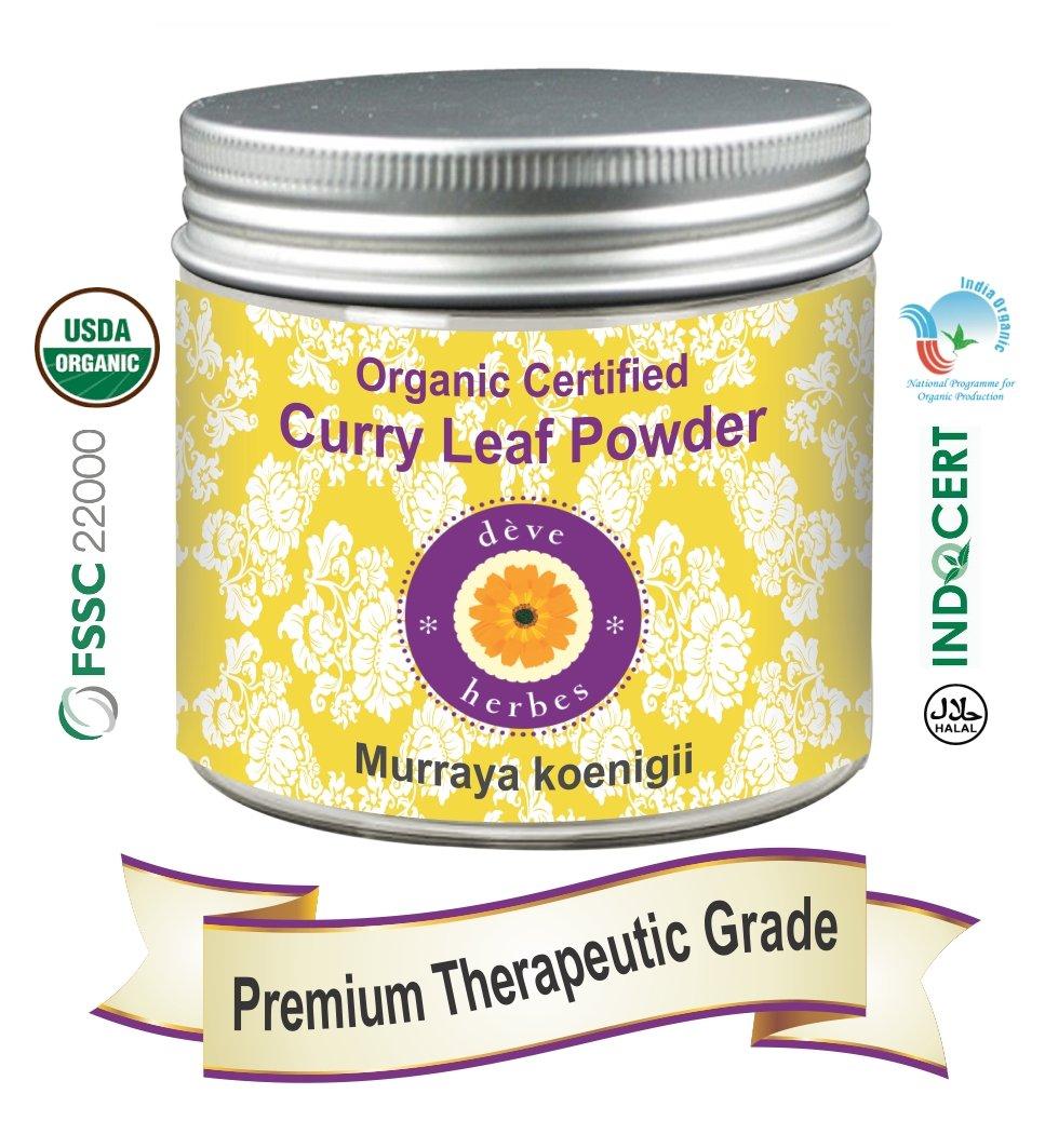 Deve Herbes Organic Certified Curry Leaf Powder 200gm (Murraya koenigii)