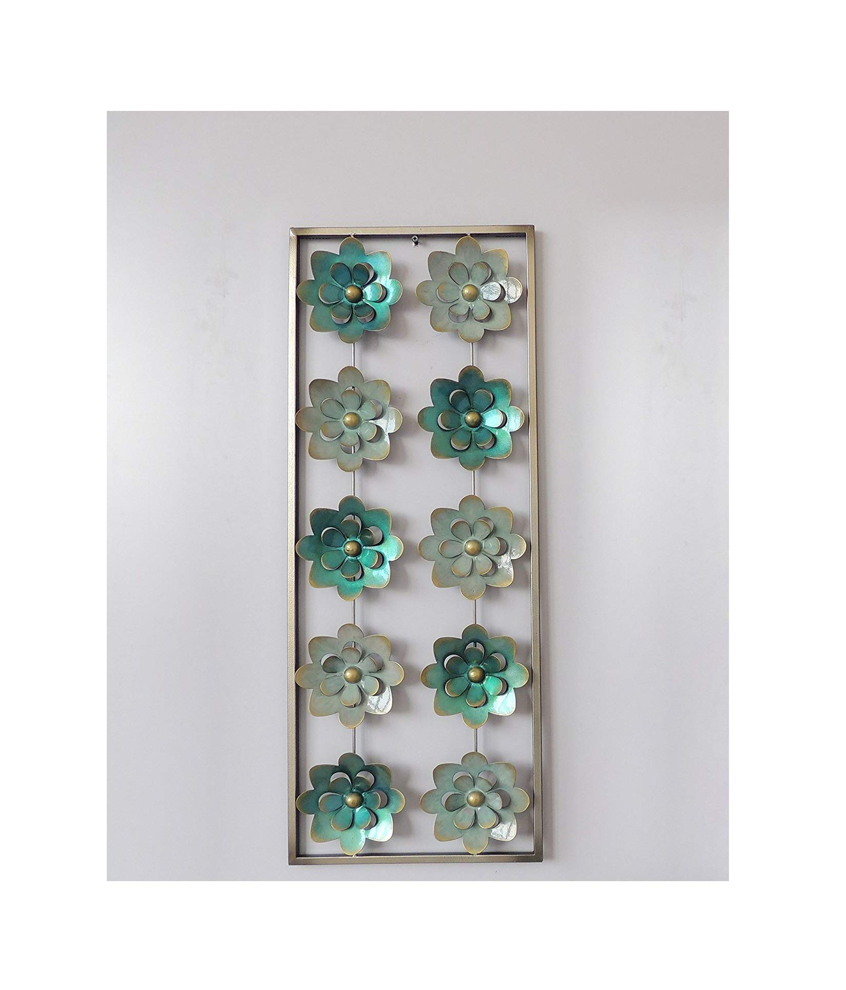 New All American Collection Modern Chic Aluminum/Metal Wall Decor with Frame 12''x30'' (Aqua and Turquoise Flowers)