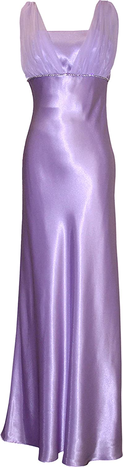 Satin Chiffon Holiday Bridesmaid Long Formal Gown Crystals PacificPlex