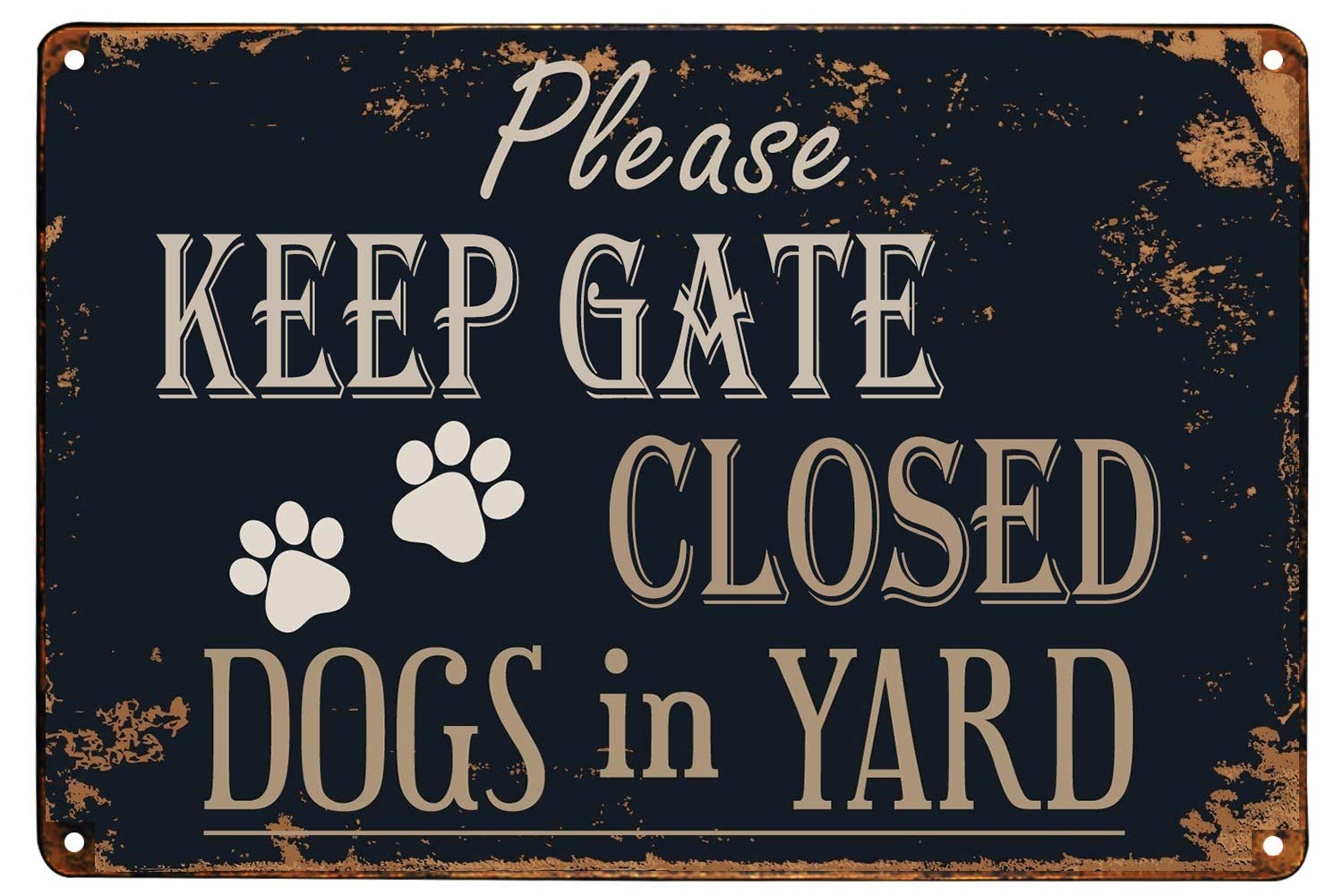 Monifith Please Keep Gate Closed Dogs in Yard Reto Vintage Metal Tin Signs for Lawn Garden Yard Signs 8X12Inch