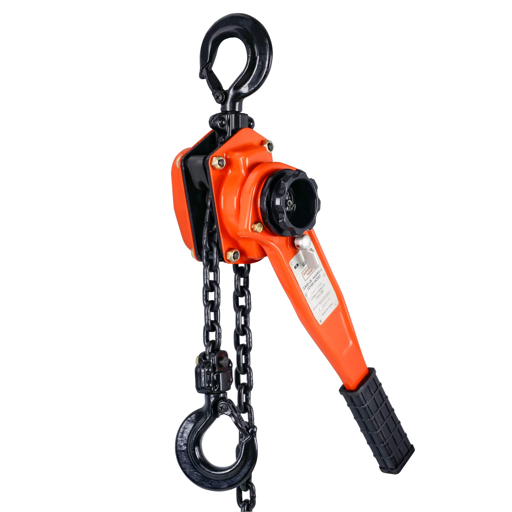 SuperHandy Manual Lever Hoist Come Along 1-½ TON 3300 LBS Capacity 5FT Lift 2 Heavy Duty Hooks Commercial Grade Steel for Lifting Pulling Construction Building Garages Warehouse Automotive Machinery