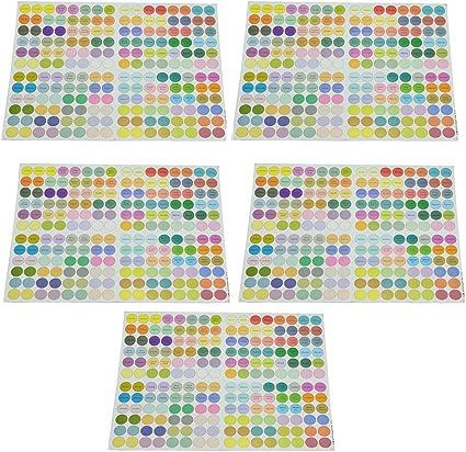 5 au total Limeo Etiquettes Auto-adh/ésives /à Pois Autocollants /à Pois Color/és Autocollant Avec des Bouteilles Dhuile Essentielle Autocollant Point Rond Autocollant /à Pois Color/é Autocollants Ronds
