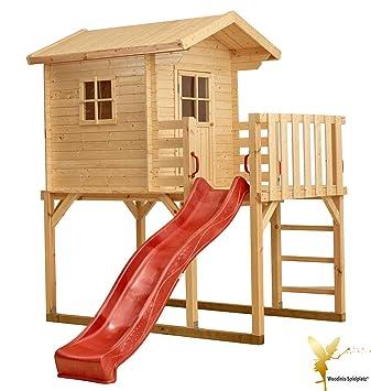 Favorit Woodinis Kinderspielhaus aus Holz auf Stelzen rote Rutsche: Amazon EX61
