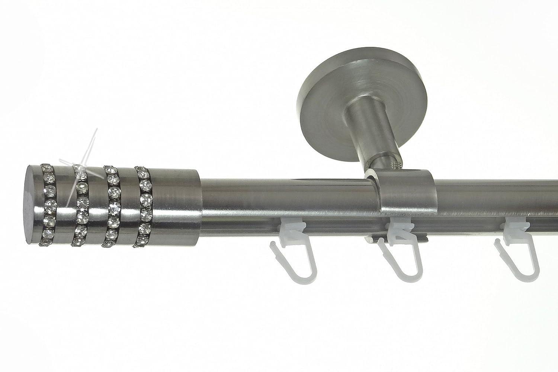 Innenlauf Gardinenstange Edelstahl Look 20mm Deckenträger Deckenbefestigung 1-läufig Zylinder Kristall, Länge wählbar D30 E39, Länge 320 cm
