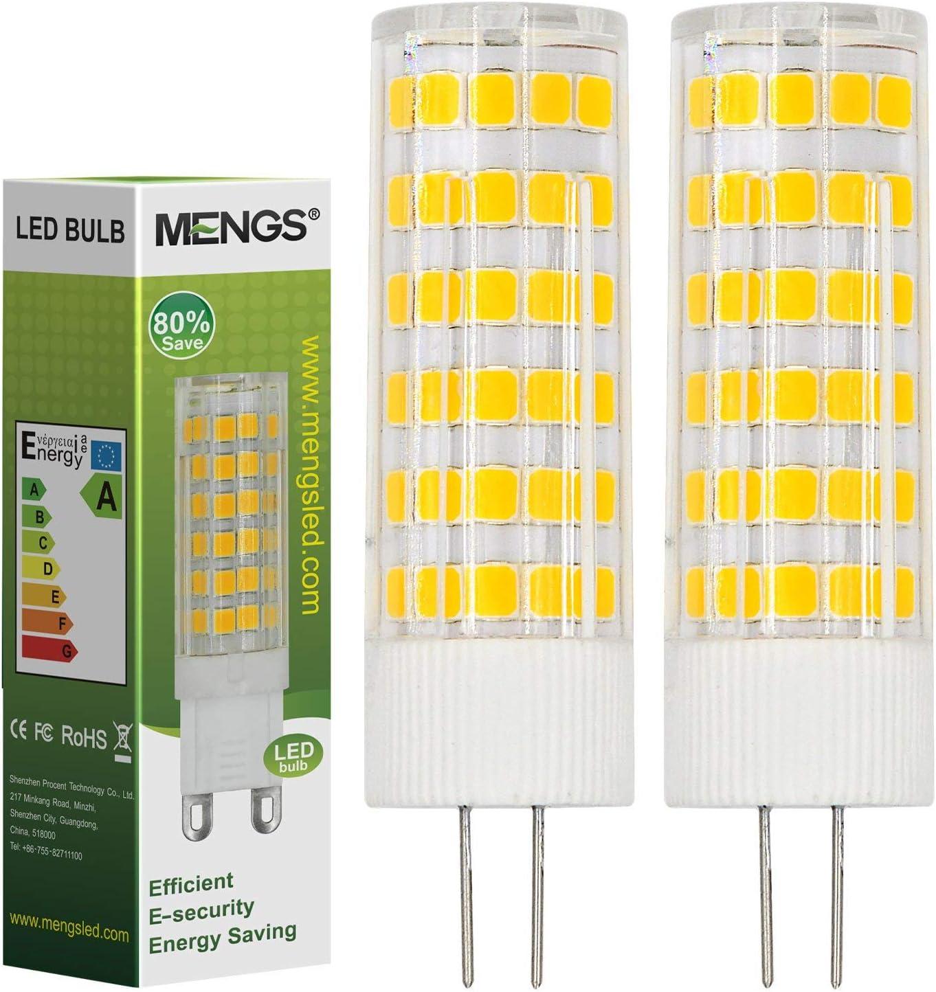 MENGS® Pack de 2 Bombilla lámpara LED 7 Watt G4, 75x 2835 SMD, Blanco Cálido 3500K,AC/DC 12V