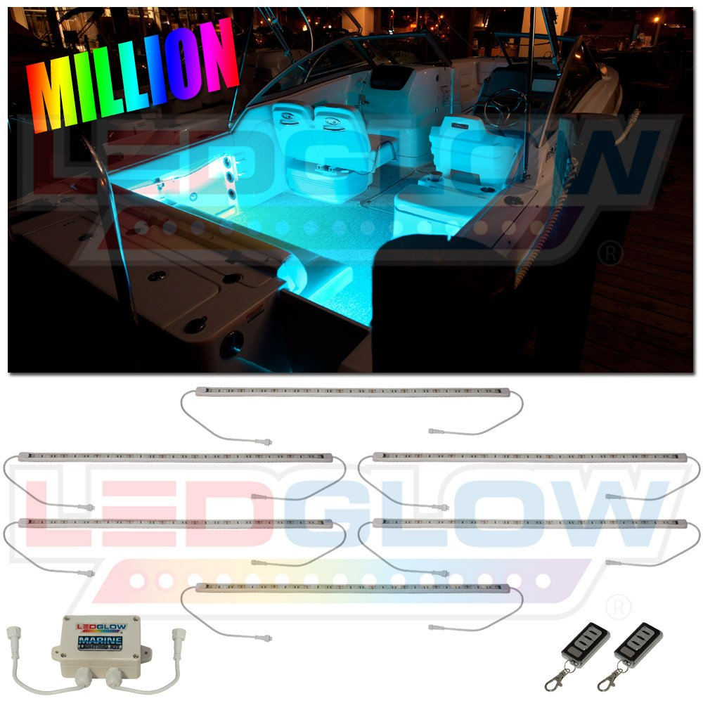 LEDGlow 6pc Million Color LED Boat Deck and Cabin Lighting Kit - 162 LEDs - Waterproof Connectors and Light Tubes - 2 Wireless Remotes by LEDGlow