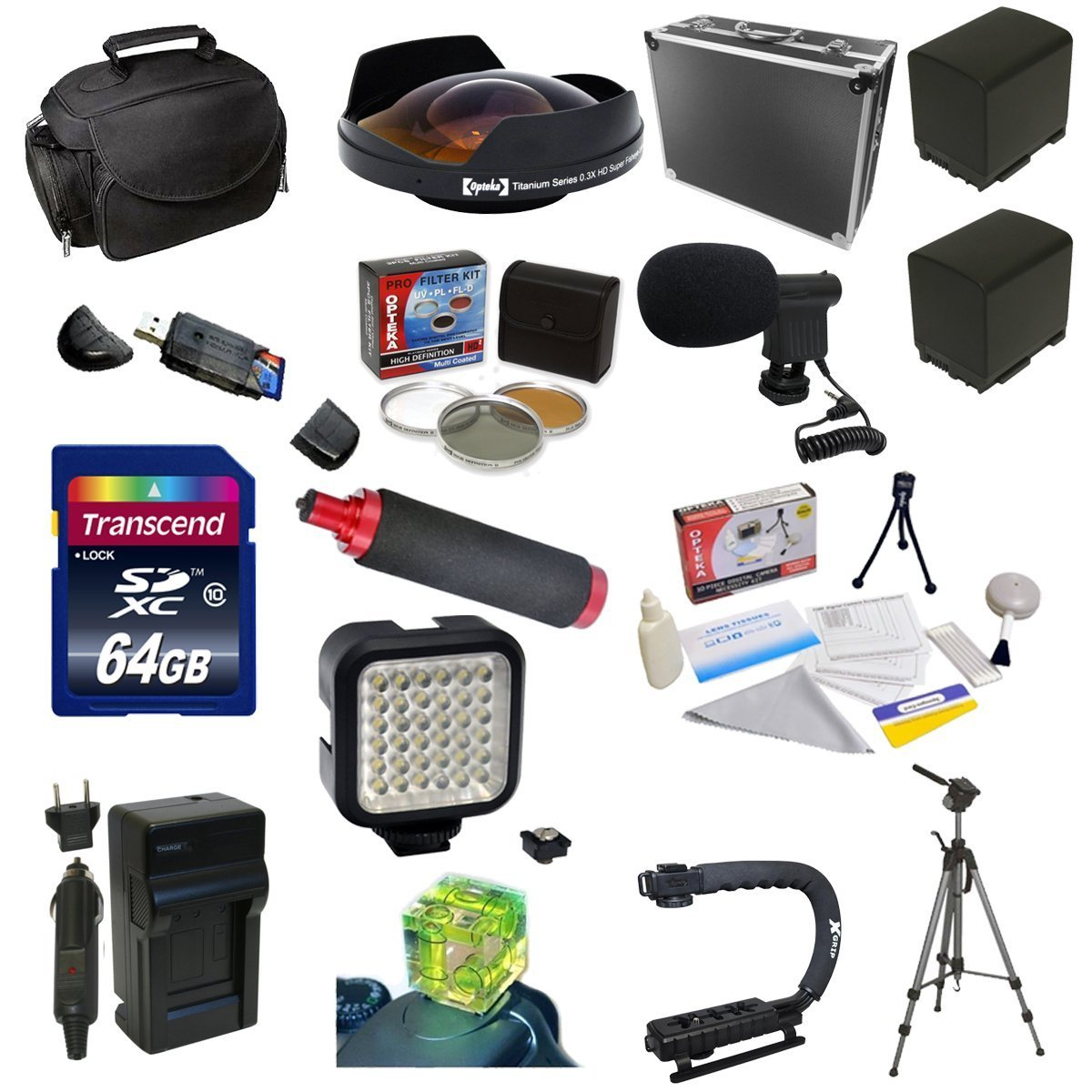 Special Edition All Sport Accessory Package For the Canon Vixia HF G10, HF G20, HF G30, HF S20, HF S21, HF S30, HF S200 Includes 64GB High Speed Error Free SDHC Memory Card + Professional 5 Piece Filter Kit (UV, CPL, FL, ND4 and 10x Macro Lens) + 0.3X Hig by Opteka