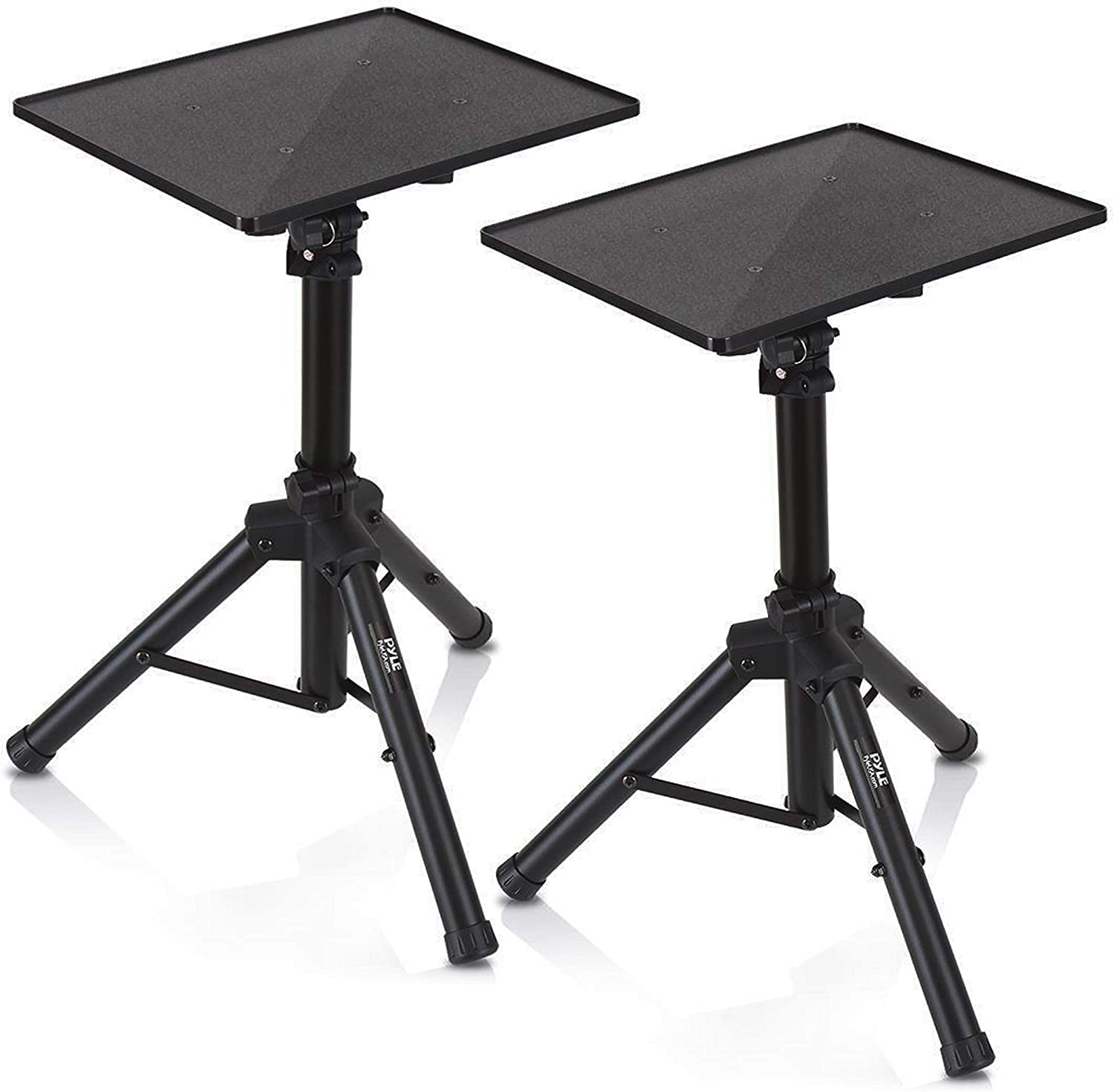 Universal Laptop Projector Tripod Stand - 2 Pcs Computer, Book, DJ Equipment Holder Mount Height Adjustable Up to 52 Inches w/ 20'' x 16'' Plate Size - Perfect for Stage or Studio Use - Pyle PLPTS4X2
