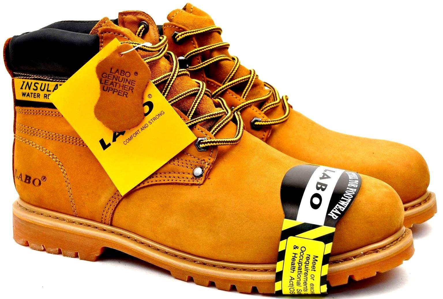 Labo Brand Men's Tan Genuine Leather Steel Toe Shoe Work Boots511ST SIZE 7